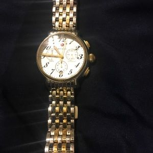 Michele diamond watch with round face